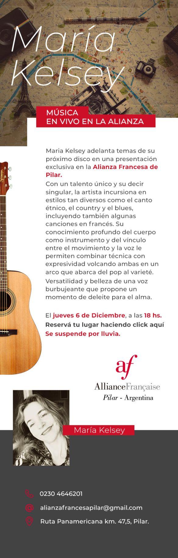 Recital gratuito al aire libre en la Alianza Francesa de Pilar